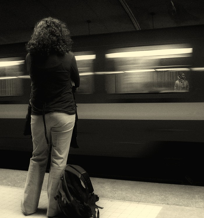 Two women waiting for metro train in Montreal.