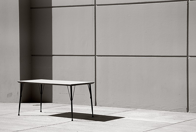 Table and wall.