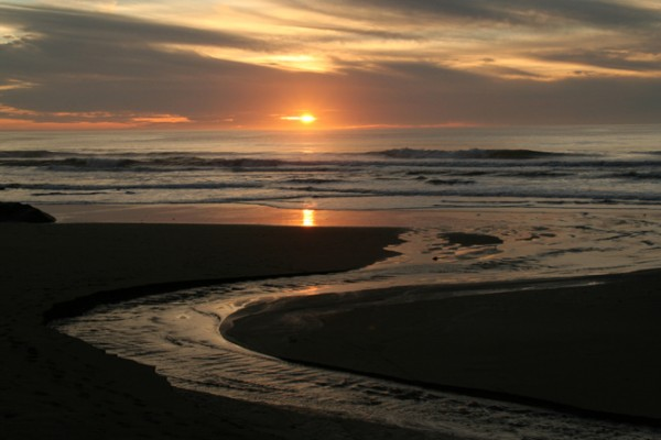 Sunset at Mendocino County Beach