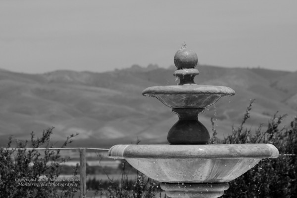 Fountain at Paraiso vineyard, Salinas, CA