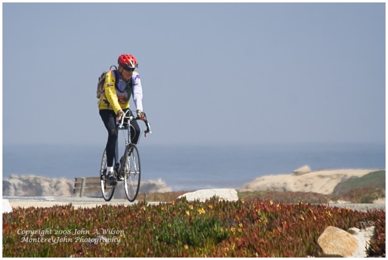 Bicyclist at Pt Pinos, Pacific Grove, CA