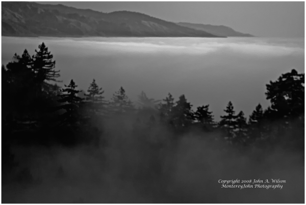 Gray Scaled Image of Fog over Big Sur