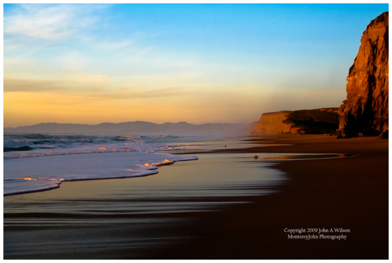 Winter Sunset at Pomponio State Beach, California