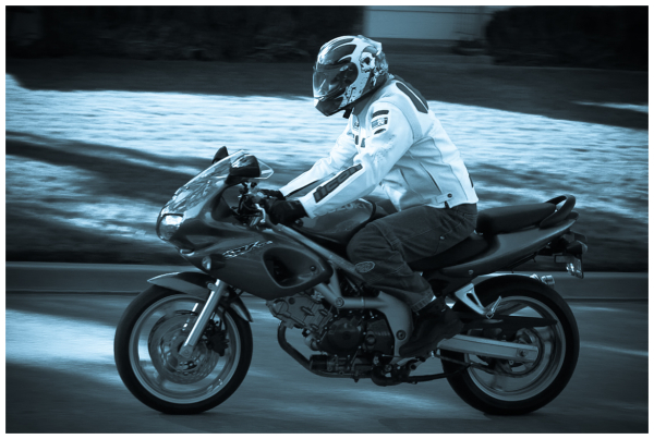 Son on new motorcycle
