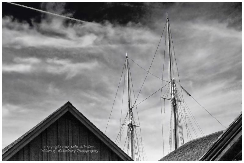Mystic Seaport - schooner masts above rooflines