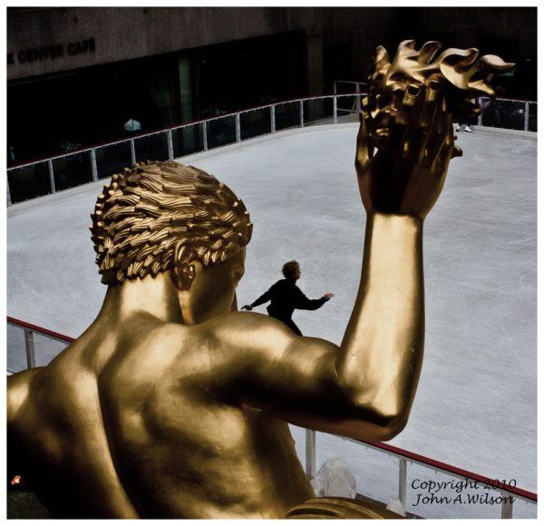 Prometheus above rink at Rockefeller Center