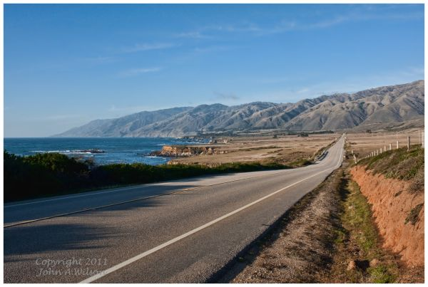 Hiway 1 near San Simeon looking to Santa Lucia Mts