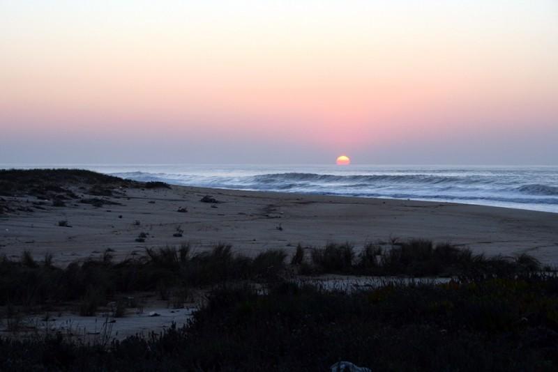 Sunset in  Paredes da Vitória beach