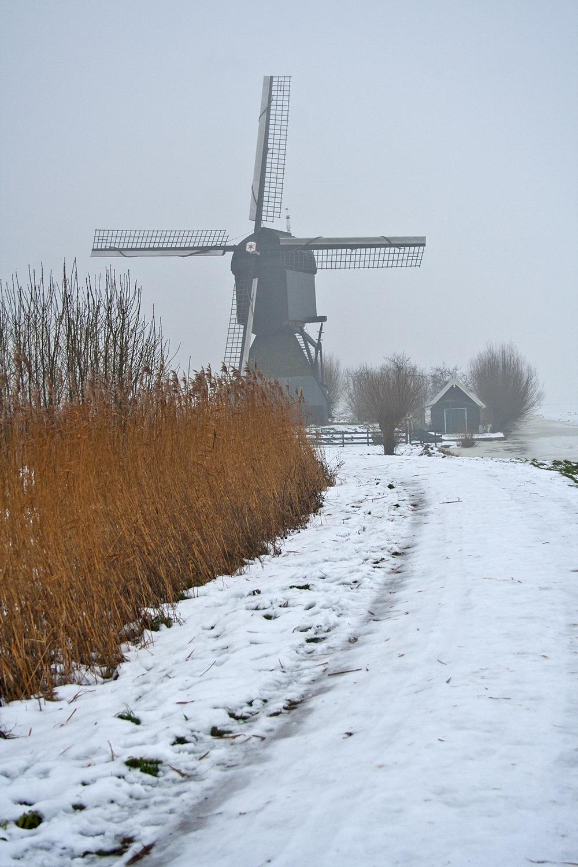 holanda kinderdike moinho inverno neve nevoeiro