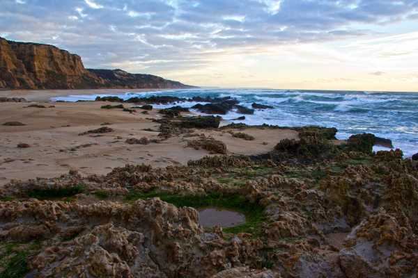 praia mar vale-furado rocha sunset