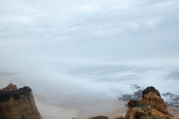 praia vale-furado nevoeiro mar