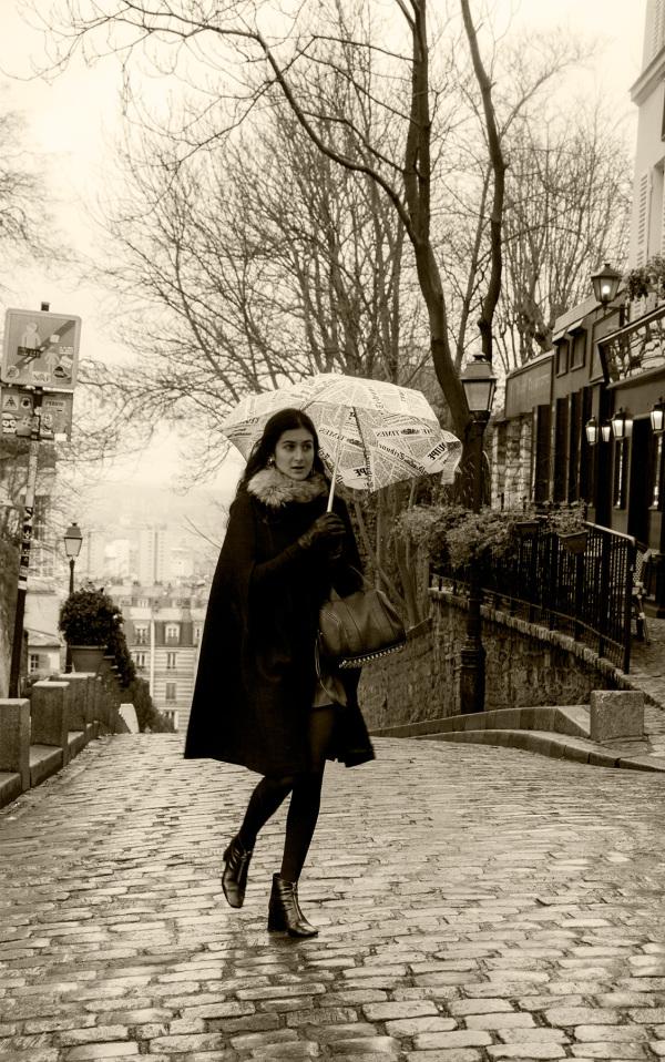 France paris Montmartre chuva chapéu