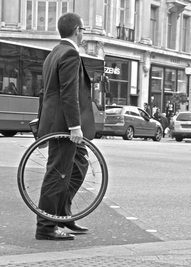 Business man with wheel in London