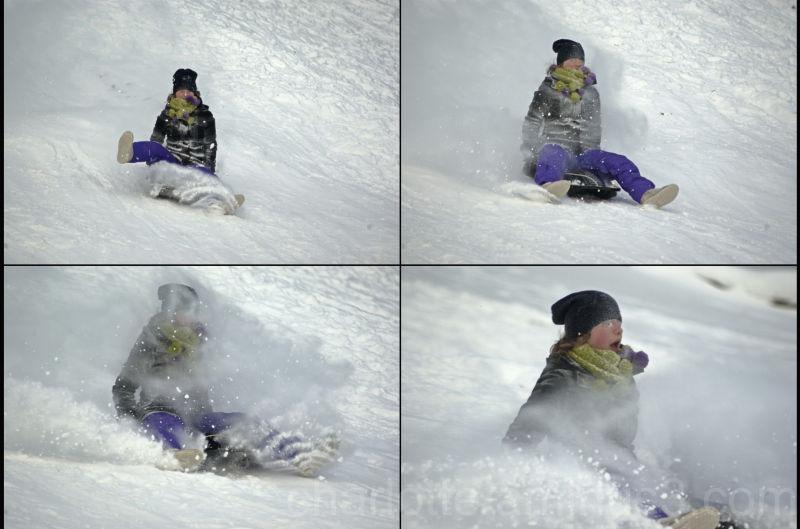 Girl on sledge