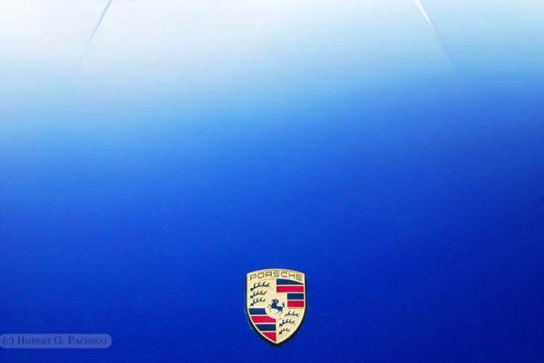 PORSCHE blue hood car luxury