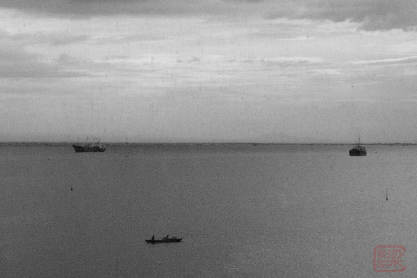 Manila Bay, black and white