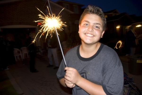boy with sparkler