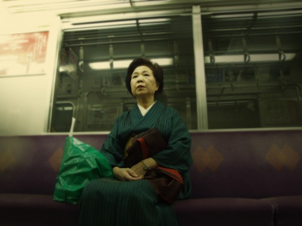 japan kimono kyoto train subway portrait