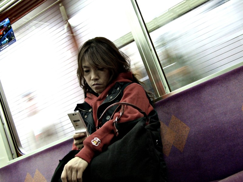 japan girl kyoto train subway portrait