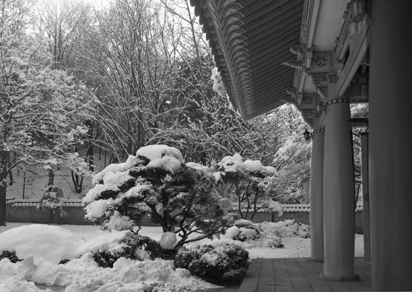 Nakseongdae Temple in winter, Seoul, Korea