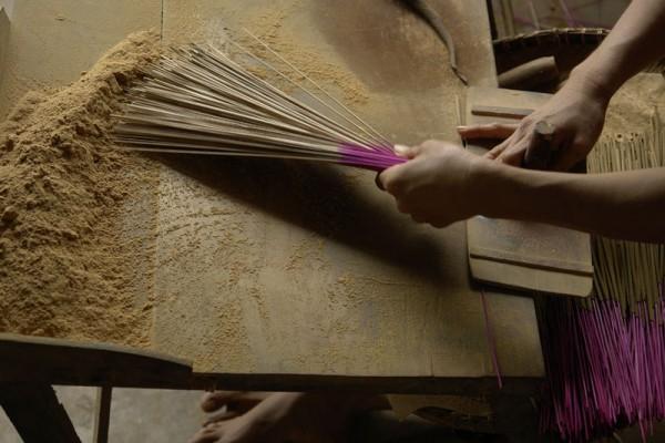 Making incense, Mekong Delta, Vietnam