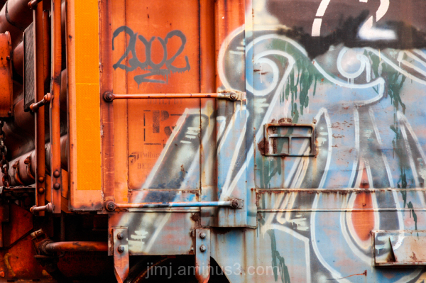 Freight car with graffiti