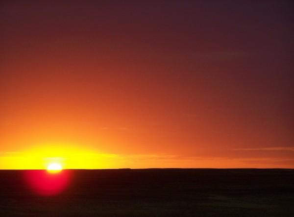 the sunset in the desert