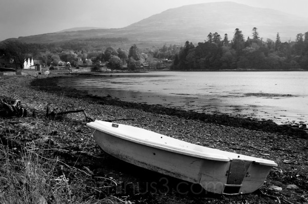 Dingy on the bank of Kenmare River.