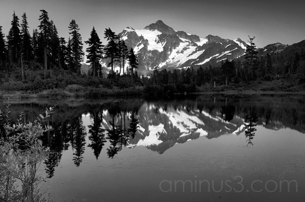 Mt. Shuksan at Twilight B&W