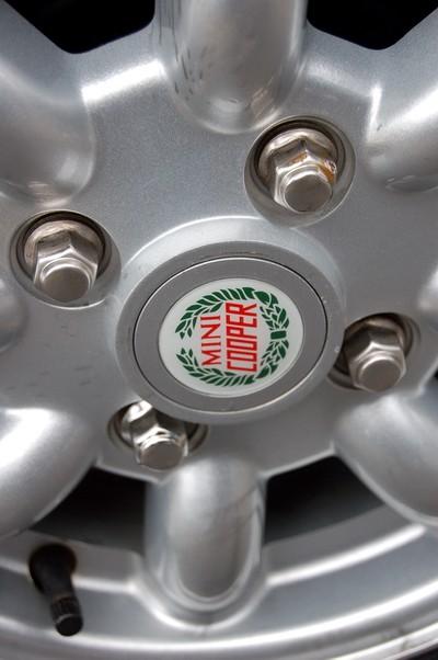 Close up of Classic Mini Cooper Wheel