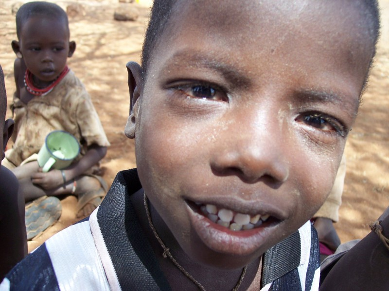 A shot of a young African boy.