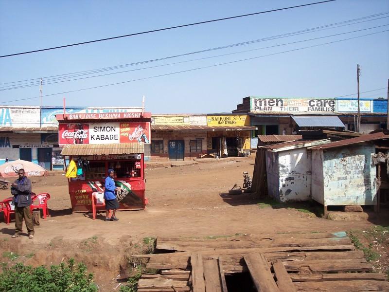 A shot of a small Kenyan strip mall.