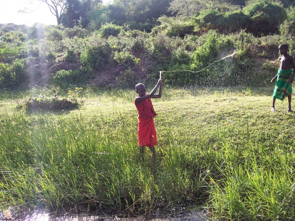 We catch a fish at a river in Kenya, Africa.