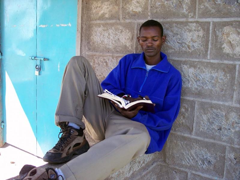 A Kenyan at a church in Massailand.