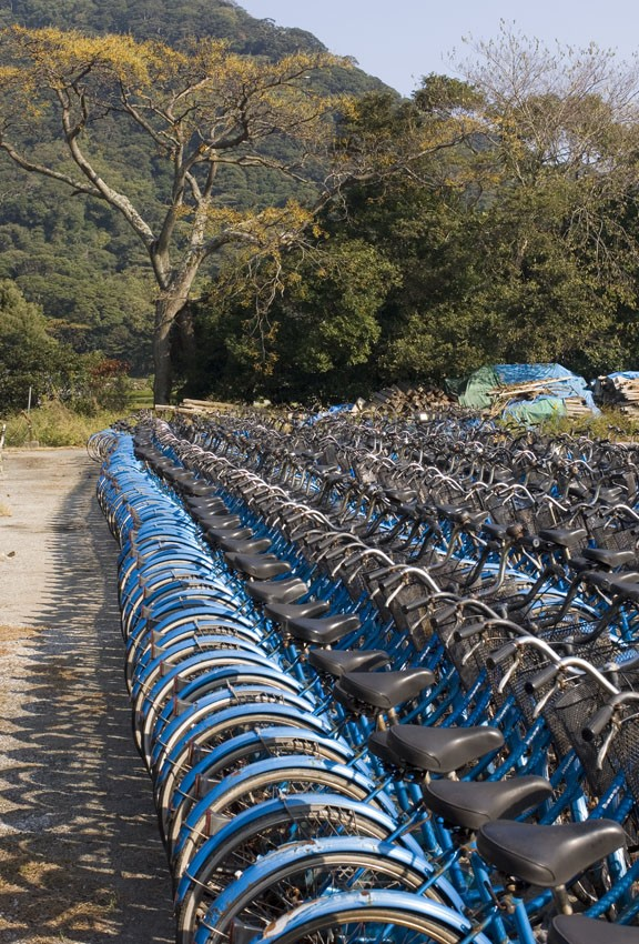 Bicycle stand at Hagi, Japan.
