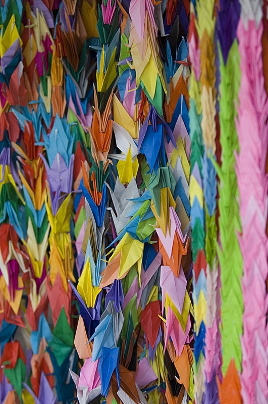 Paper cranes at the Peace Memorial Park.