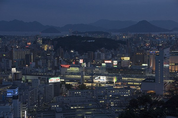 A view of Hiroshima at dusk.