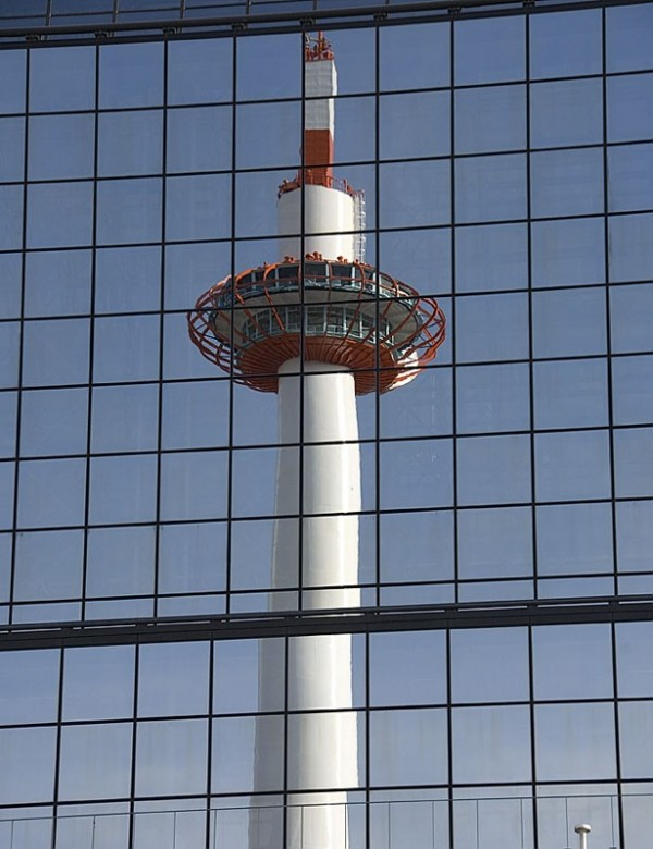 Kyoto Tower reflected.