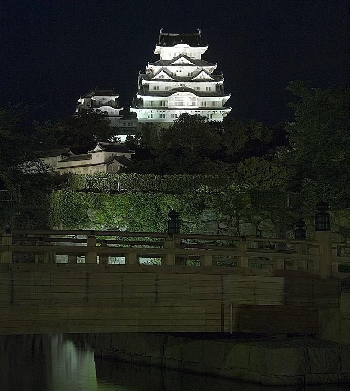 Himeji castle at night.