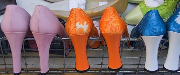Shoes on display at a Kobe shop.