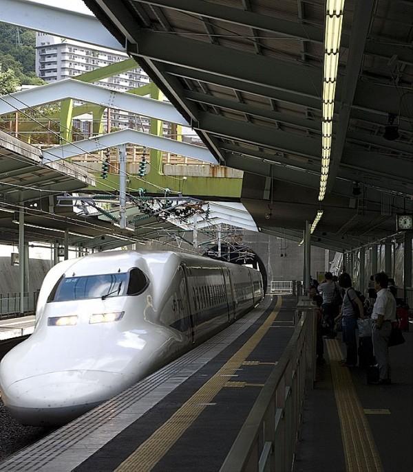 The Shinkansen bullet train.