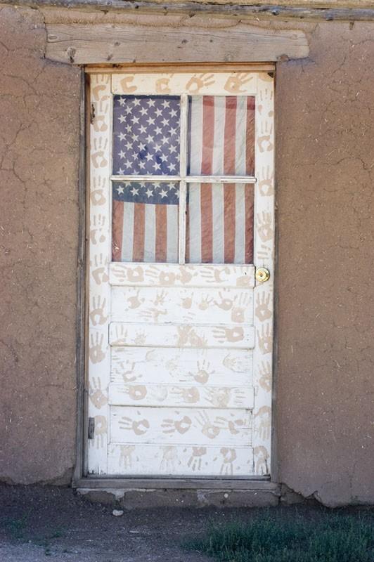 A patriotic door at Taos Pueblo.