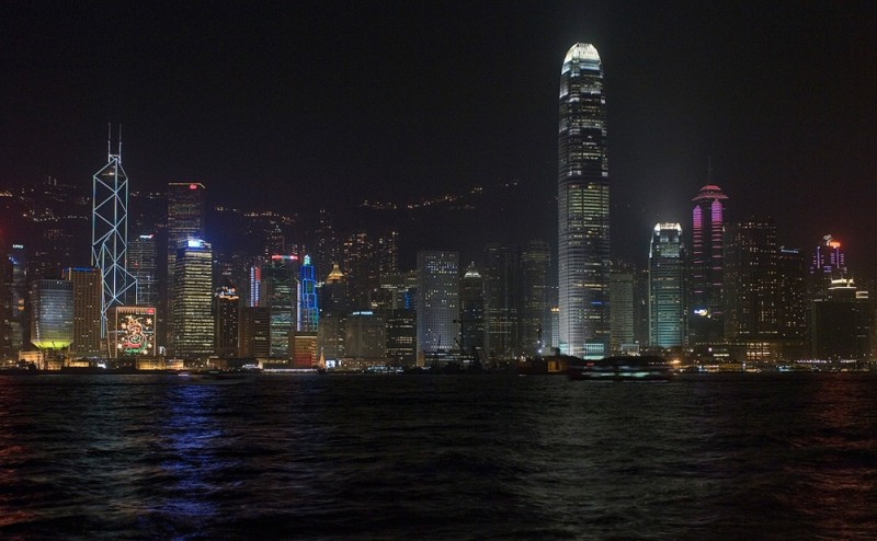 Hong Kong Harbor at night.