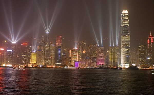 A light show in Hong Kong harbor.