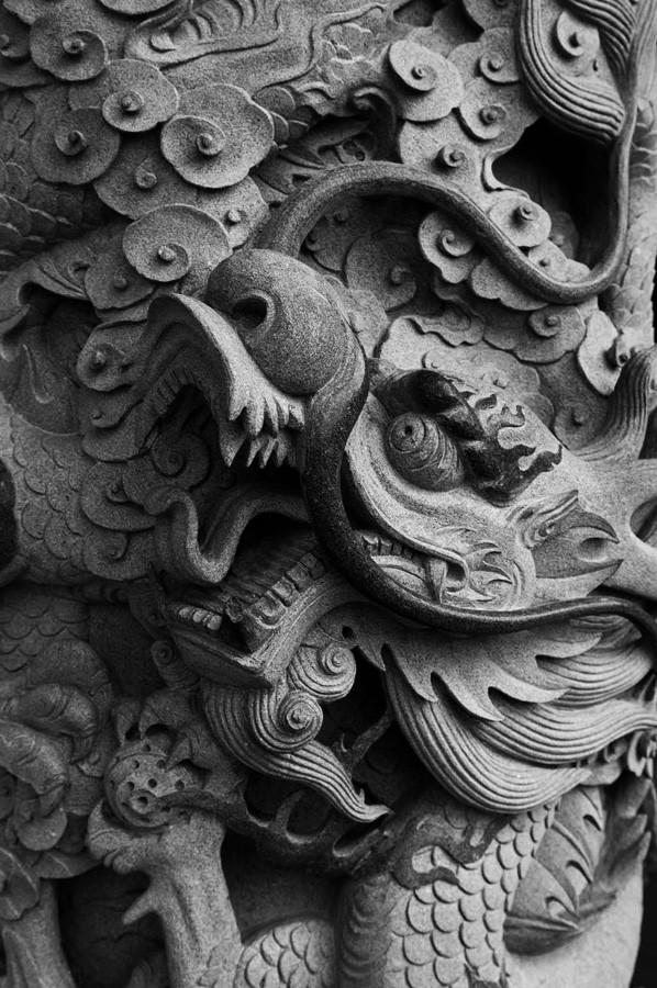 A dragon sculpture.