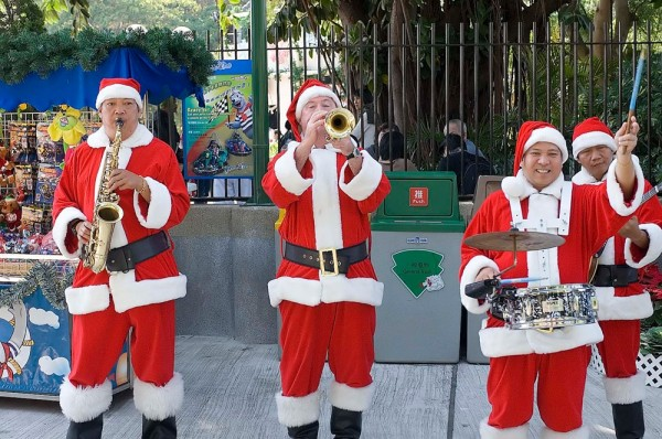 A Santa Band in Hong Kong.