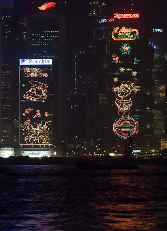 Lights at Hong Kong harbor.