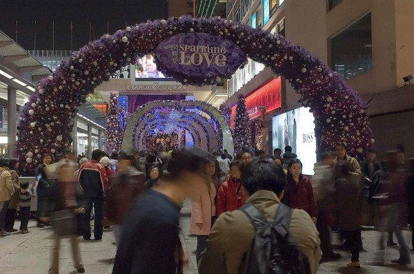 Holiday decorations in Hong Kong.