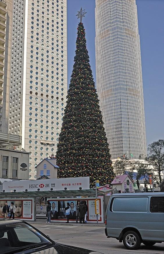 A large Christmas tree in Hong Kong.