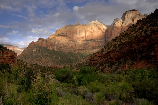 Sunrise in lower Zion Valley.